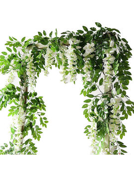 7ft 2m Flower String Artificial Wisteria Vine Garland Plants Foliage Outdoor Home Trailing Flower Fake Flower Hanging Wall Decor by Ali Express.Com