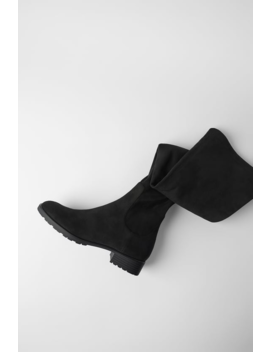 Flat Heeled Over Theknee Boots Boots by Zara