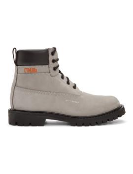 Grey Worker Boots by Heron Preston