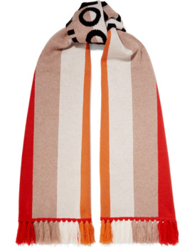 Fringed Intarsia Cashmere Scarf by Burberry