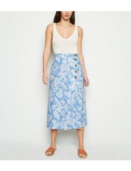 Blue Tropical Floral Linen Blend Midi Skirt by New Look