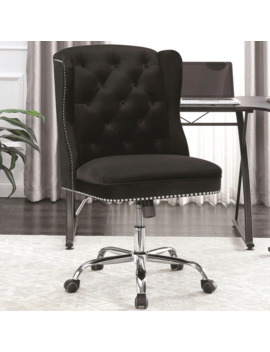 Button Tufted Design Black Velvet Swivel Adjustable Office Chair With Nailhead Trim by Generic