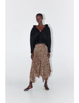 Animal Print Pleated Skirt Midi Skirts Woman by Zara