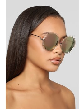 Hold On Longer Sunglasses   Gold by Fashion Nova