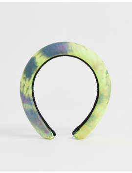 Asos Design Padded Headband In Green Tie Dye Print by Asos Design