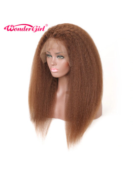 Wonder Girl 13x4 Glueless Lace Front Human Hair Wigs For Black Women #4 Kinky Straight Hair Brazilian Hair Lace Front Wig Remy by Ali Express.Com