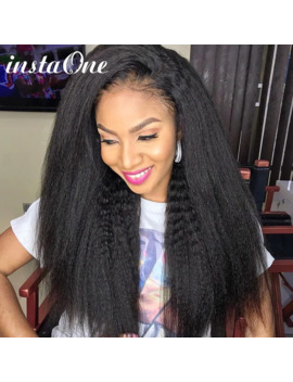 28 30 Inch 360 Lace Frontal Wig Kinky Straight Brazilian Yaki Lace Front Human Hair Wigs Pre Plucked For Black Women Remy Hair by Ali Express.Com