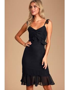 Lovely In Love Black Ruffled Midi Dress by Lulus