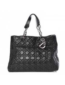 Christian Dior Lambskin Cannage Large Dior Soft Shopping Tote Black by Christian Dior