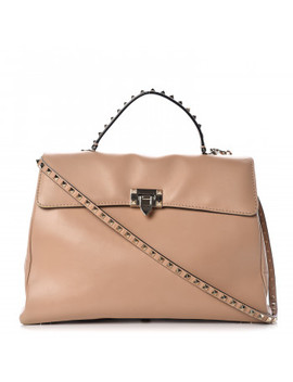 Valentino Vitello Large Rockstud Flap Satchel Poudre by Valentino