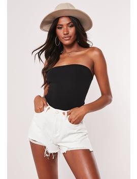 Black Jersey Bandeau Bodysuit by Missguided