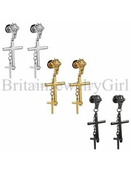 2 6pcs Men Women Skeleton Claw Cross Chain Dangle Stainless Steel Stud Earrings by Unbranded