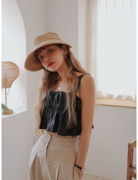 Pleated Cropped Sleeveless Top by Stylenanda