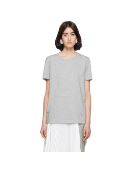 Grey Embroidered Logo T Shirt by Mm6 Maison Margiela