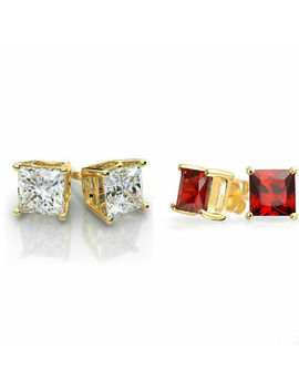 Gold Stainless Steel Stud Earrings Cubic Zirconia Men Women 2 Pc Earrings Set by Unbranded