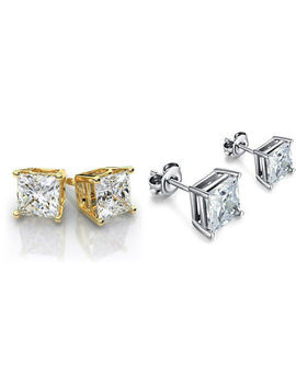 Gold Stainless Steel Stud Earrings Cubic Zirconia Men Women 2 Pc Box Earrings Set by Ndg