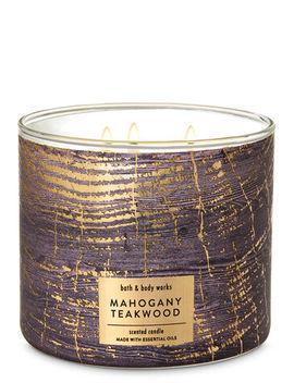 Mahogany Teakwood\N\N\N3 Wick Candle    by Bath & Body Works