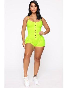 Feeling Flirty Romper   Neon Lime by Fashion Nova