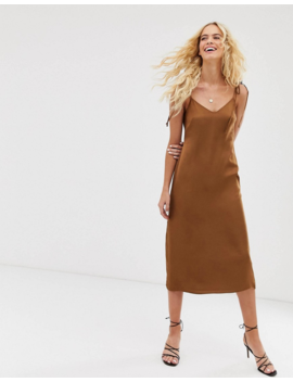 &Amp; Other Stories Slip Dress With Tie Shoulder Details In Brown by & Other Stories