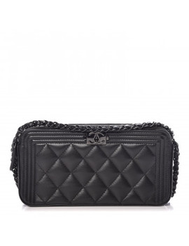 Chanel Lambskin Quilted Small Boy Clutch With Chain So Black by Chanel