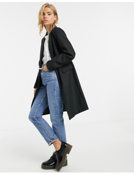 New Look Button Front Coat In Black by New Look