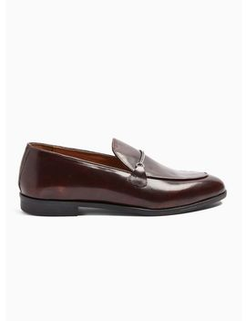 Burgundy Leather Askew Chain Loafers by Topman