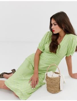 Musier – Rosanna – Ginghamrutig Kortärmad Midiklänning by Musier