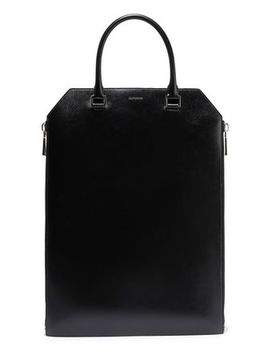 Zip Detailed Leather Tote by Jil Sander