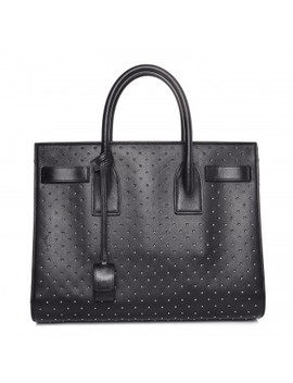 Saint Laurent Calfskin Studded Small Sac De Jour Black by Yves Saint Laurent