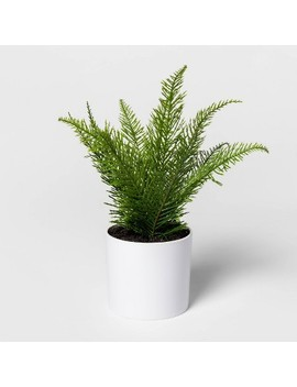 "9"" X 9"" Artificial Fern Arrangement In Pot White/Green   Project 62 by Project 62"