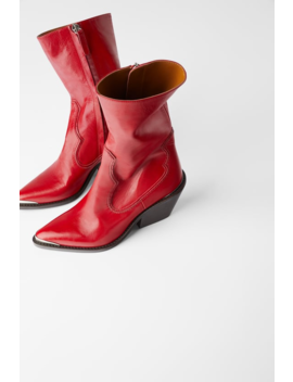Leather Heeled Cowboy Ankle Boots With Metal Detail  Womanshoes &Amp; Bags New In by Zara