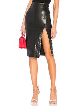 Jezabel Faux Leather Midi Skirt In Black by Superdown