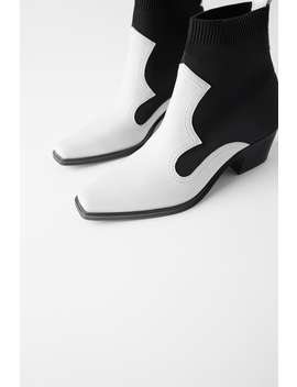 Contrasting Stretch Heeled Ankle Boots  Womanshoes &Amp; Bags New In by Zara