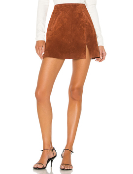 Dried Tobacco Suede Mini Skirt In Dried Tobacco by Blanknyc