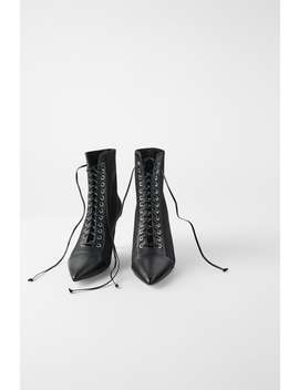 Technical Laced Heeled Ankle Boots  Boots by Zara