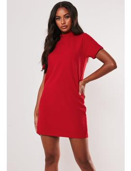 Red High Neck Shift Dress by Missguided