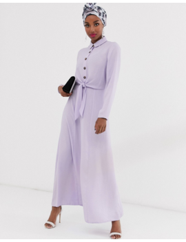 Asos Design Button Through Wrap Maxi Shirt Dress by Asos Design
