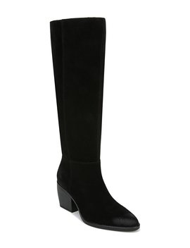 Fae Slouch Suede Wide Calf Block Heel Boots by Naturalizer