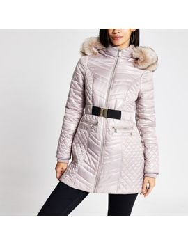 Champagne Satin Padded Belted Jacket by River Island