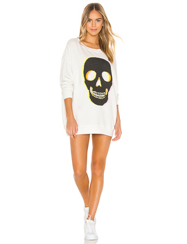 Glow Skull Roadtrip Sweatshirt Dress In Vanilla by Wildfox Couture