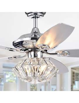 Makore Chrome 52 Inch Lighted Ceiling Fan With Crystal Shade (Incl. Remote & 2 Color Option Blades) by Warehouse Of Tiffany