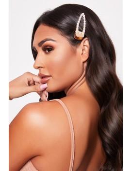 Larsa Gold Pearl & Diamante Hair Clip by Misspap