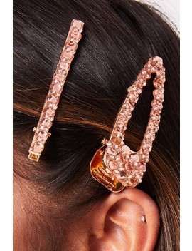 Marnie Rose Gold Diamante 2 Pack Hair Clips by Misspap