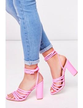 Lucille Neon Pink Multi Strap Block Heels by Misspap