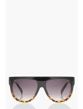 Leopard Oversized Flat Top Sunglasses by Boohoo