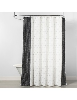 Dots Floral Shower Curtain Black/Cream   Opalhouse by Opalhouse