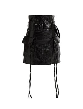Everly Patent Leather Cargo Skirt by Storets