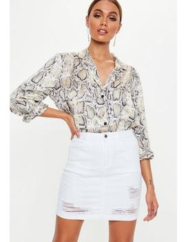 White Distressed Super Stretch Denim Skirt by Missguided