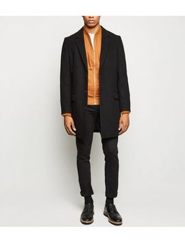 Black Double Pocket Overcoat by New Look