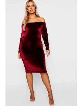 Plus Bardot Velvet Midi Dress by Boohoo